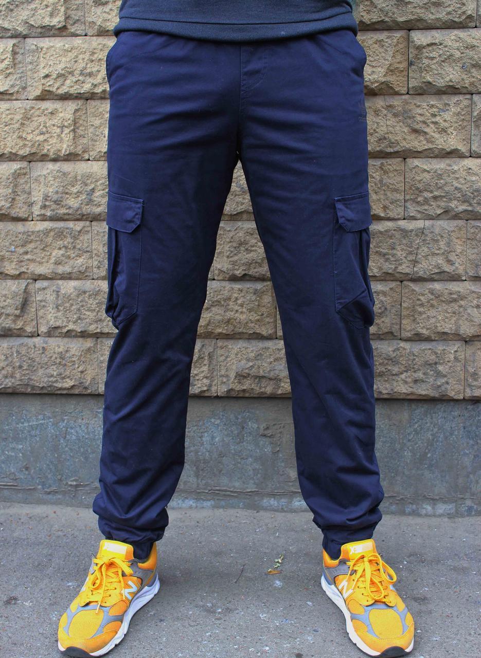 Зимние котоновые синие спортивные карго штаны Adidas на манжете  (Реплика)