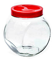 Банка стеклянная Everglass 1730 мл. с красной пластиковой крышкой для хранения сыпучих продуктов