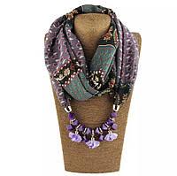 Шарф - бусы (шарф с бусами), Светло-фиолетовый с узором
