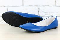 Стильные кожаные  балетки-лодочьки цвета электрик