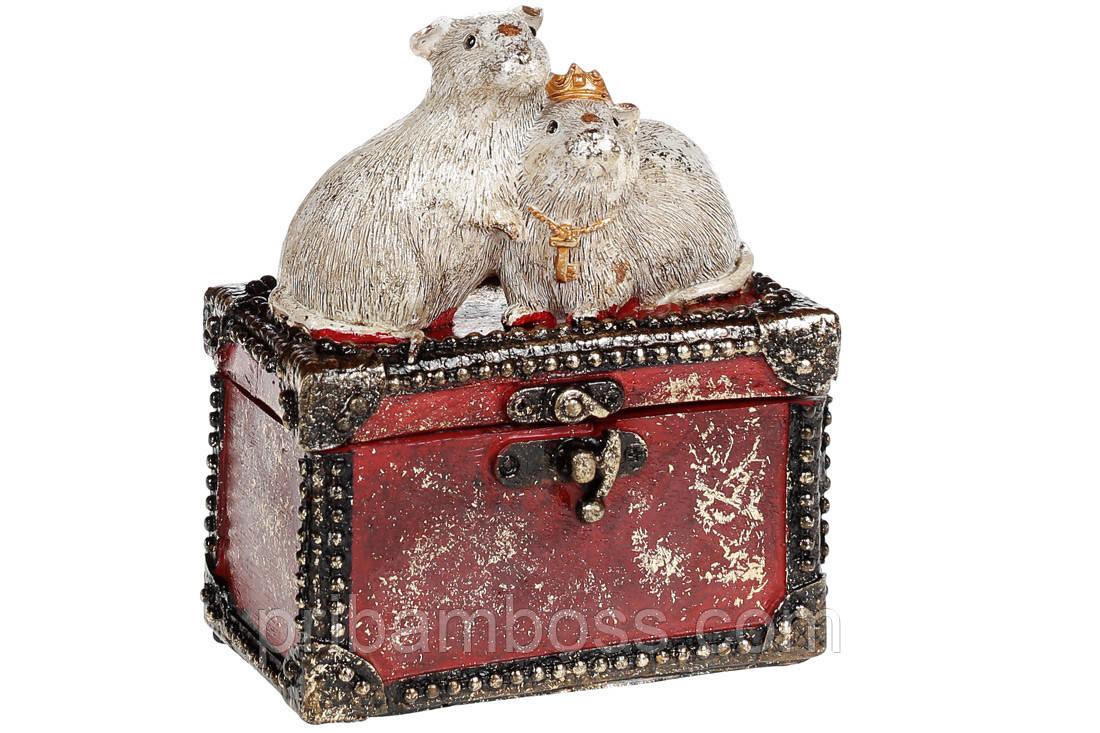 Декоративная шкатулка с фигуркой Мышки, 14.5см