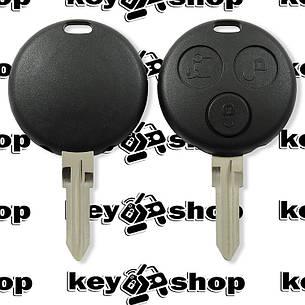 Корпус смарт ключа Mercedes  (Мерседес)  3 кнопки с двумя отверстиями под лампочки, фото 2