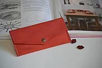 Женский кошелек-конверт из натуральной кожи красный