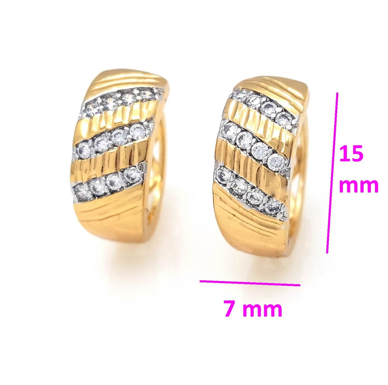 Сережки кільця, з різбленням і доріжками цирконію, позолота+родій, 18К