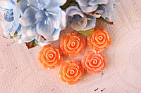 "Кабошон (серединка) ""Роза"" 2 см диаметр, оранжевого цвета"