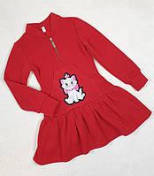 Детское красное платье в садик теплое р. 110-128