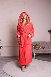 Длинный женский махровый халат цвет коралловый, размер S- 6XL