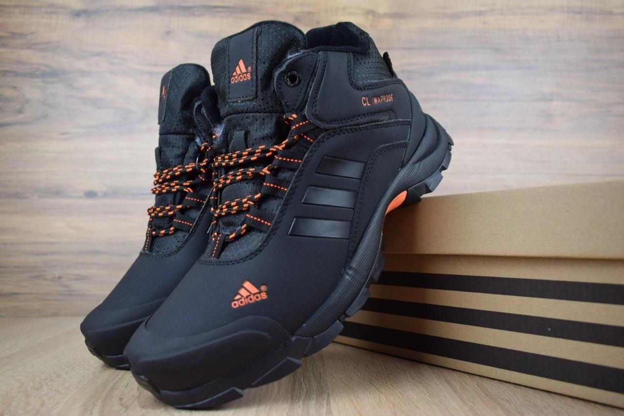 Чоловічі зимові кросівки Adidas Climaproof (чорно-помаранчеві)