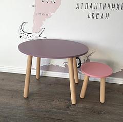 Дитячий дерев'яний комплект. Дерев'яний круглий столик і табуретка. 100% дерево масив бук