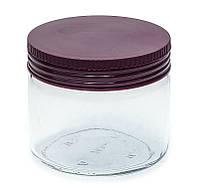 Банка стеклянная Everglass 330 мл. для хранения с пластиковой крышкой цвет баклажан (Италия)