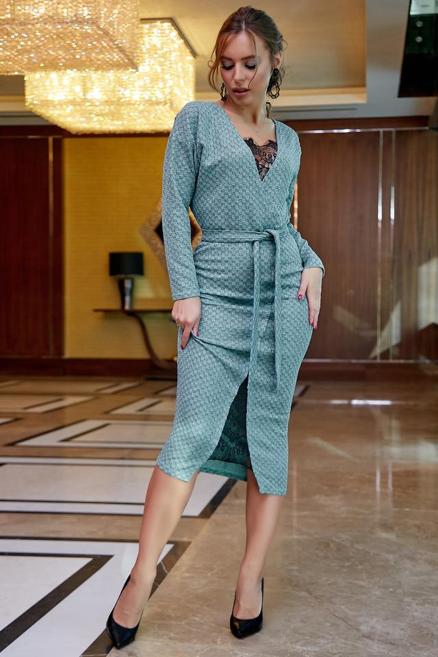 Женское платье трикотажное, размеры от 42 до 52, бирюзовое с кружевом