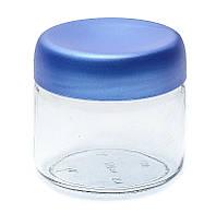 Банка стеклянная Everglass 330 мл.для хранения с синей перламутровой пластиковой крышкой (Велюр)