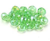 Бусины хрустальные (Рондель)  6х4мм пачка - 95-105 шт, цвет - светло зеленый прозрачный с АБ