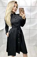 Платье на пуговицах с длинными рукавами /разные цвета, 42-46, ft-385/