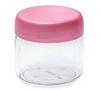 Банка стеклянная Everglass 330 мл. для хранения с розовой пластиковой крышкой (Велюр)