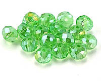 Бусины хрустальные (Рондель)  2х2мм пачка - 180-190 шт, цвет - светло зеленый прозрачный с АБ