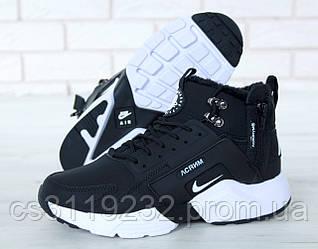 Жіночі кросівки Nike Air Huarache MID Winter (хутро) (чорні)
