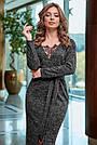 Женское платье миди, размеры от 42 до 52, трикотаж ангора с кружевом, чёрное, фото 2