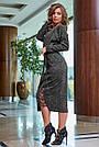 Женское платье миди, размеры от 42 до 52, трикотаж ангора с кружевом, чёрное, фото 4