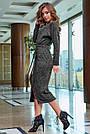 Женское платье миди, размеры от 42 до 52, трикотаж ангора с кружевом, чёрное, фото 5