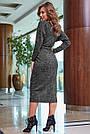 Женское платье миди, размеры от 42 до 52, трикотаж ангора с кружевом, чёрное, фото 6