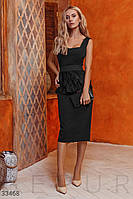 Вечернее приталенное платье миди с баской