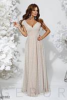 Вечернее платье макси с сеткой бежевое