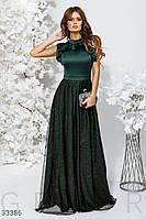 Вечернее длинное платье макси с оборками темно-зеленое
