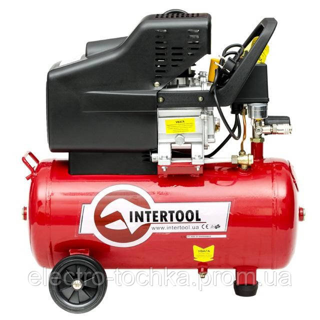 Компрессор 24 л, 1.5 кВт, 220 В, 8 атм, 206 л/мин INTERTOOL PT-0009