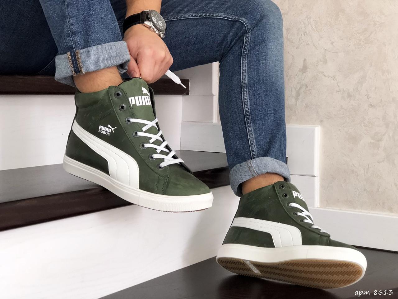 Мужские зимние кроссовки Puma Suede (темно-зеленые)