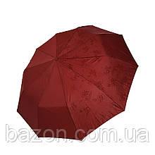 """Женский зонтик полуавтомат на 10 спиц Bellisimo """"Flower land"""", бордовый цвет, 461-3"""