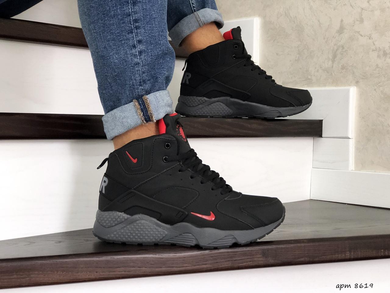 Мужские кроссовки найк хуарачи черные натуральная кожа нуб зимние с мехом (реплика) Nike Huarache Black Winter