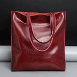 Сумка шкіряна жіноча. Сумочка шопер жіноча з натуральної шкіри (червоний), фото 3