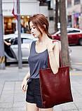 Сумка шкіряна жіноча. Сумочка шопер жіноча з натуральної шкіри (червоний), фото 4
