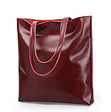 Сумка шкіряна жіноча. Сумочка шопер жіноча з натуральної шкіри (червоний), фото 2