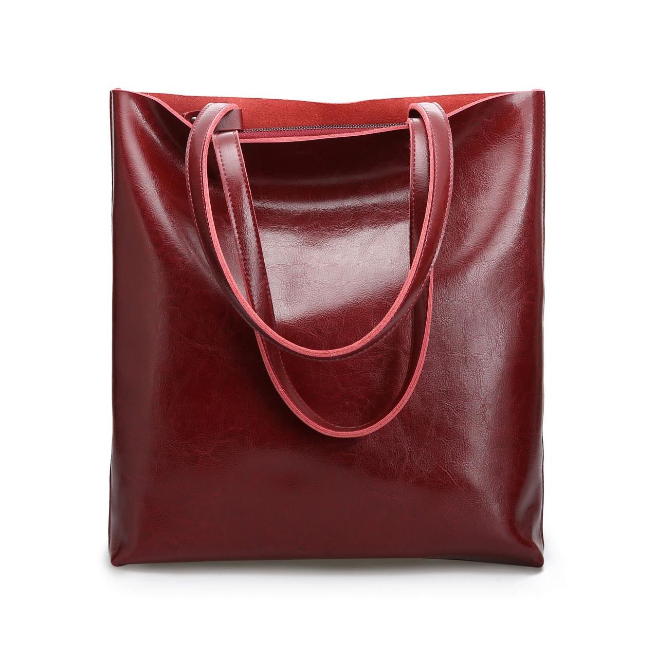 Сумка шкіряна жіноча. Сумочка шопер жіноча з натуральної шкіри (червоний)