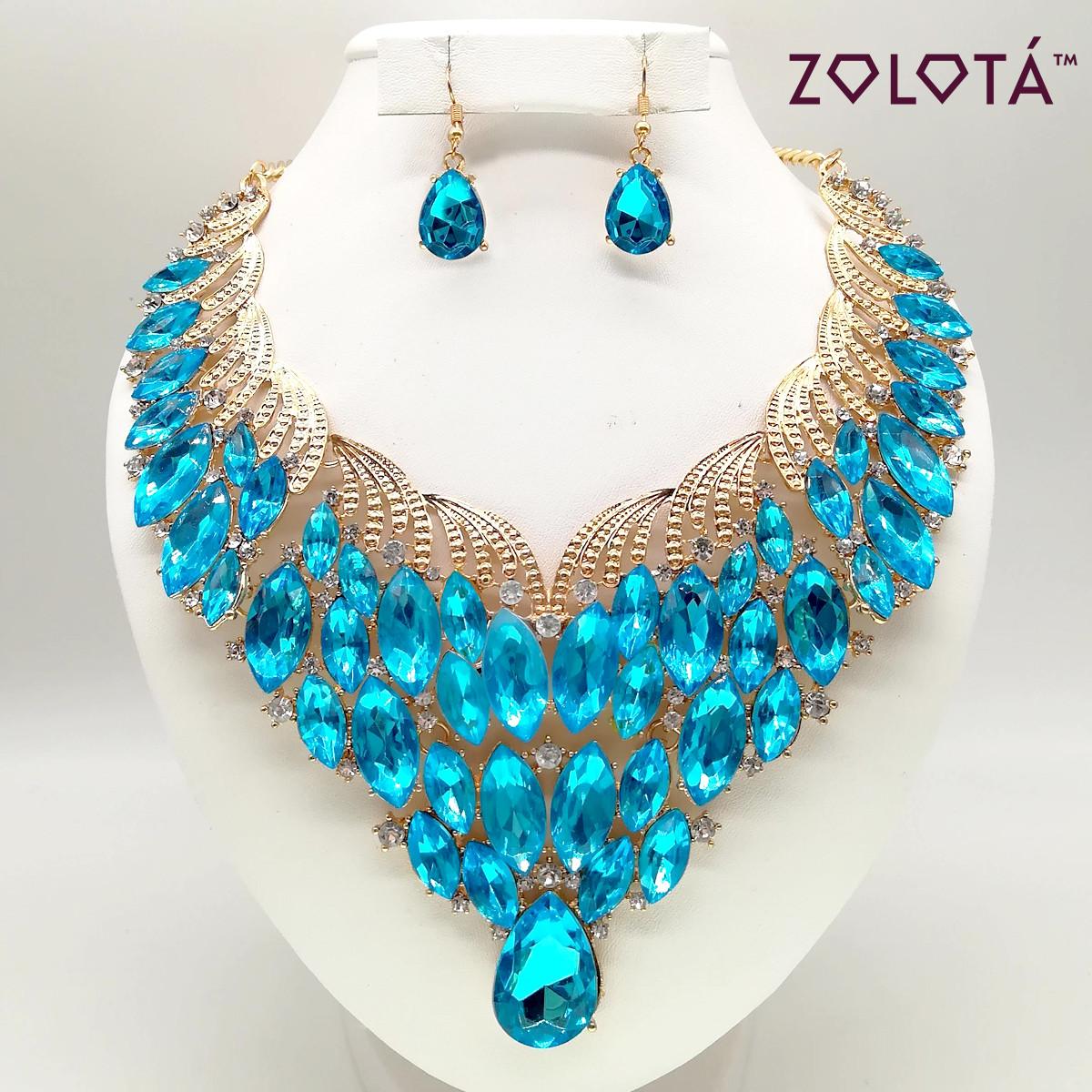 Комплект (Колье + серьги) с голубыми и белыми камнями, в позолоте, КЛ00086 (1)