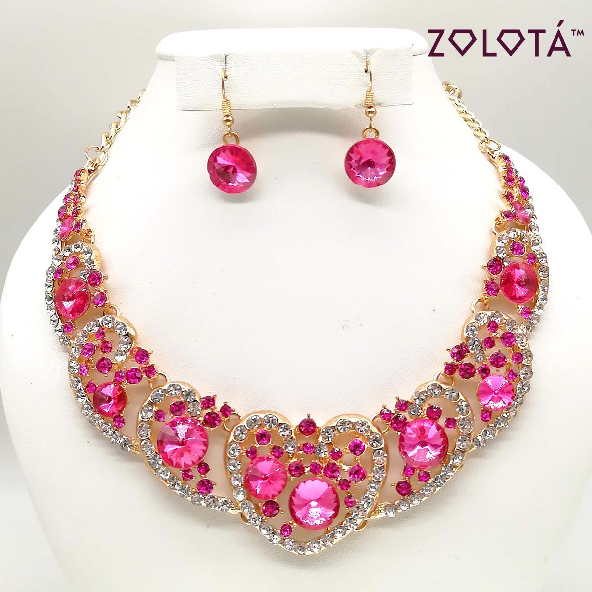 Комплект (Колье + серьги) с розовыми и белыми камнями, в позолоте, КЛ00084 (1)