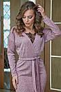 Молодёжное платье женское, размеры от 42 до 52, трикотаж ангора с кружевом, персик, фото 2