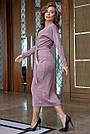 Молодёжное платье женское, размеры от 42 до 52, трикотаж ангора с кружевом, персик, фото 4