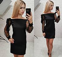 Платье женское с открытыми плечами /черное, 42-46, ft-2001/