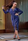 Гламурное платье женское, размеры от 42 до 52, трикотаж ангора с кружевом, синее, фото 2