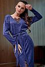 Гламурное платье женское, размеры от 42 до 52, трикотаж ангора с кружевом, синее, фото 3