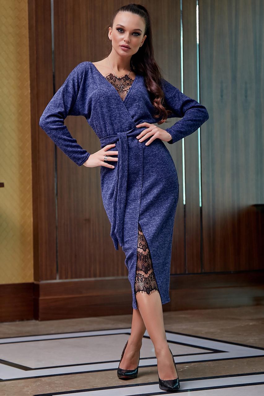 Гламурное платье женское, размеры от 42 до 52, трикотаж ангора с кружевом, синее