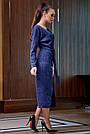 Гламурное платье женское, размеры от 42 до 52, трикотаж ангора с кружевом, синее, фото 4