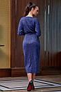 Гламурное платье женское, размеры от 42 до 52, трикотаж ангора с кружевом, синее, фото 5