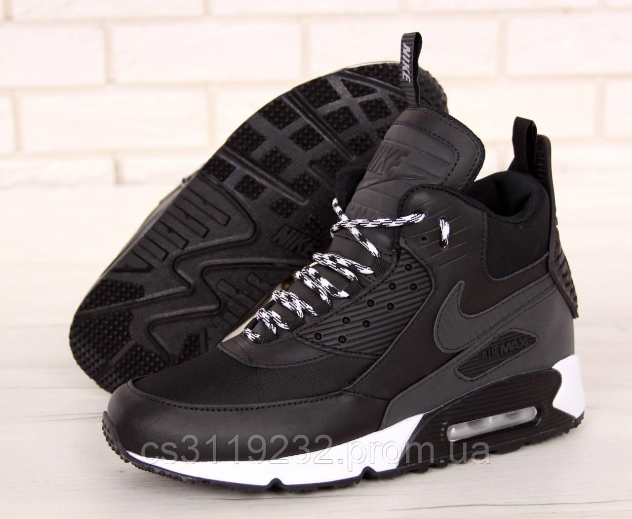 Мужские кроссовки Nike Air Max 90 Ultra MID Winter (еврозима) (черные)