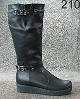 Женские зимние кожаные сапоги на платформе
