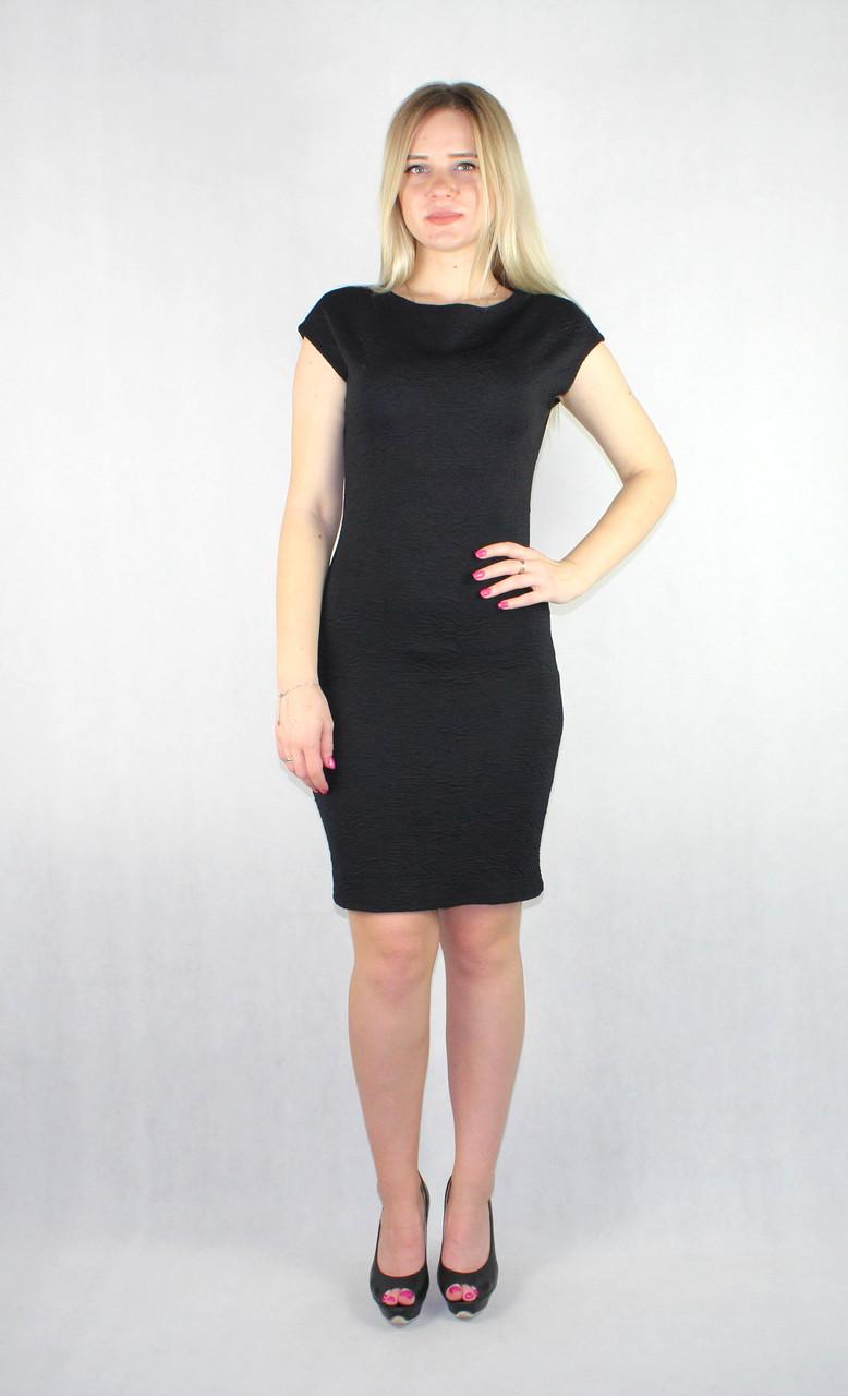 Элегантное черное женское платье миди