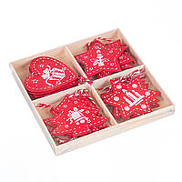 Набор новогодних украшений-подвесок Новогодняя сказка MHZ 0446j в коробке, 12 шт. (6*5 см)